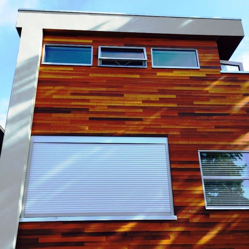 front view of installed rollshutters