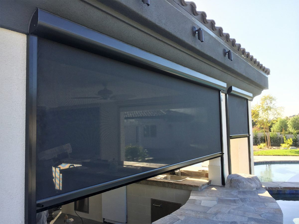 side view of installed retractable screens