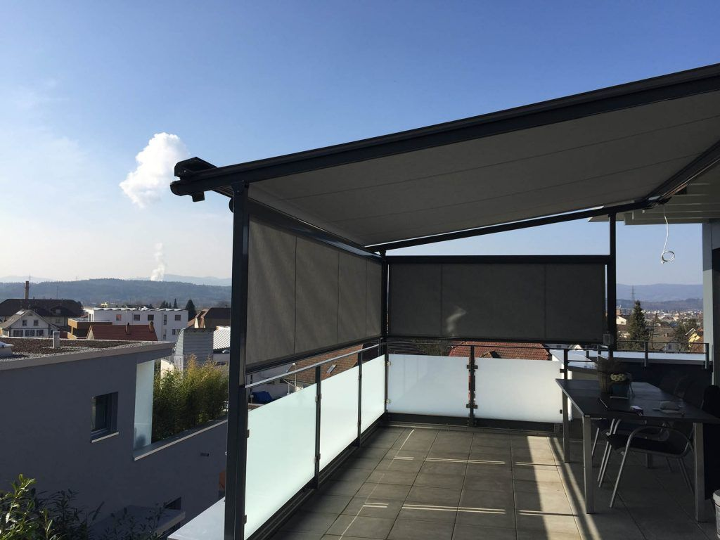side view of installed retractable roof