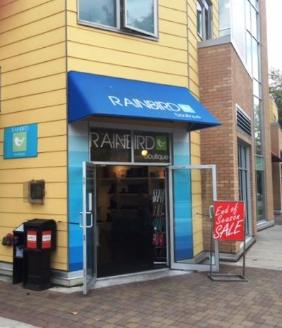 blue awning installed at the entrance