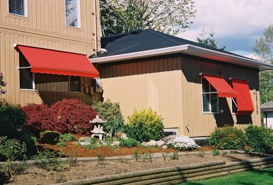 red colour awning