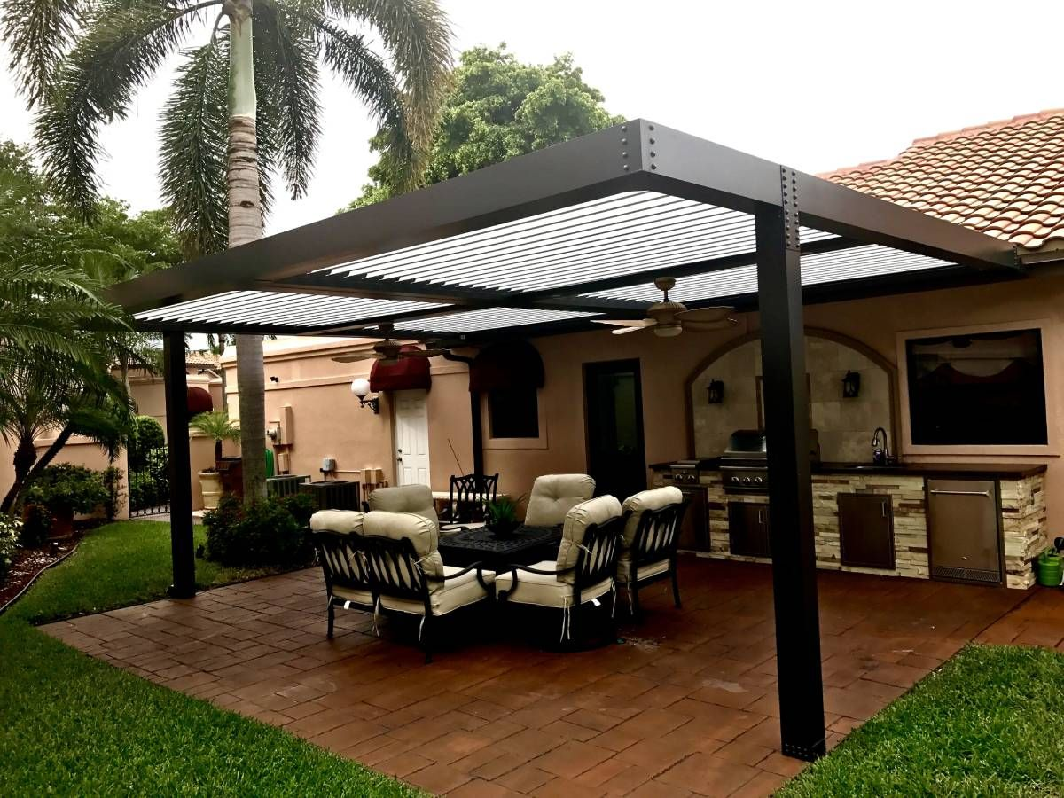 pergola with a seating space