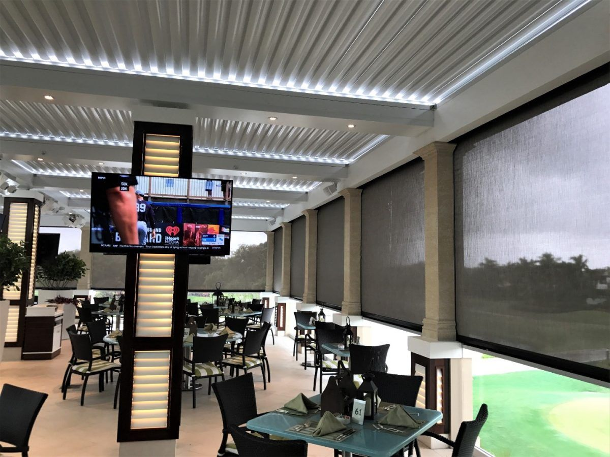 retractable screens installed at a restaurant