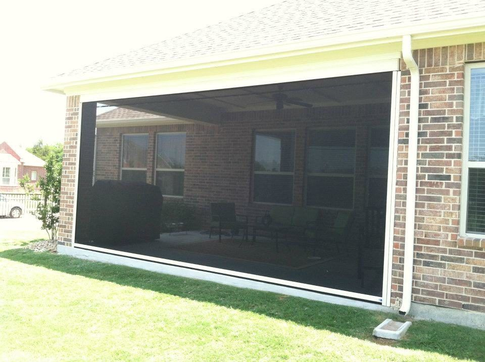 black colour installed retractable screen