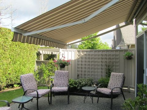 awning installed at an outdoor seating area