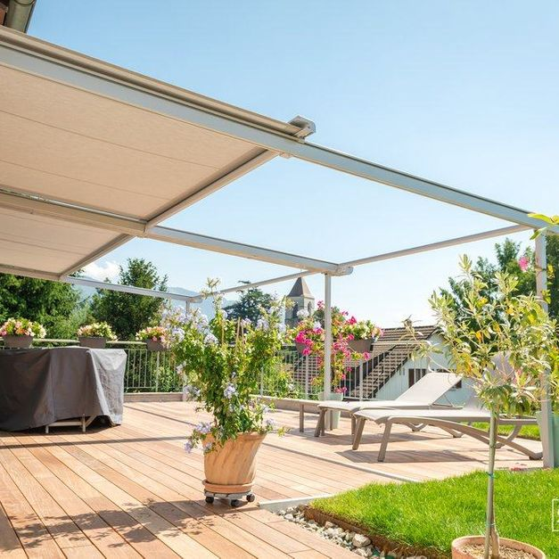 retractable roof installed on a deck