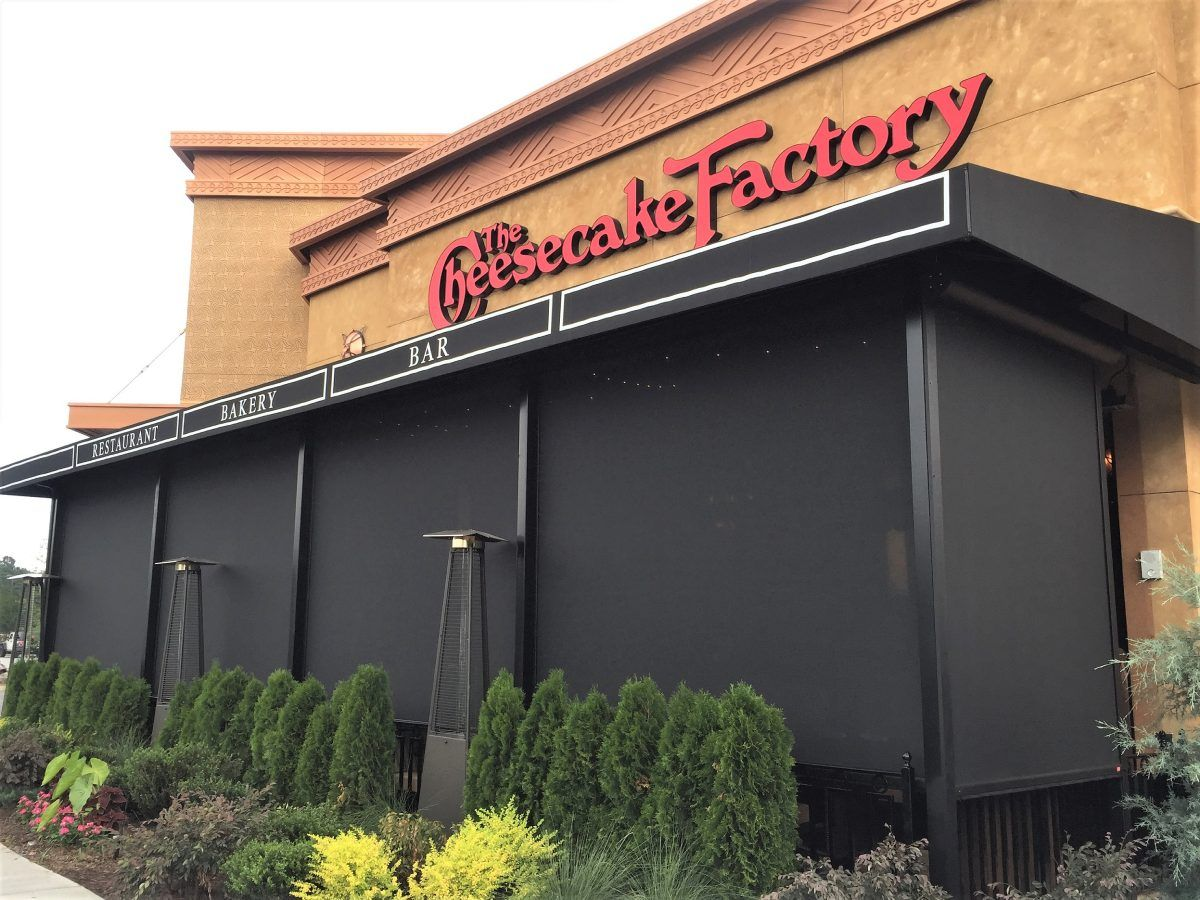 retractable screens installed at The Cheesecake Factory